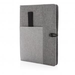 Блокнот Kyoto grey с беспроводной зарядкой